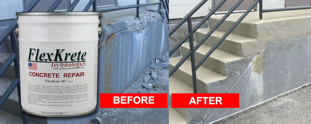 FlexKrete Concrete Repair System: The answer for all concrete repairs. Spalls, Decks, Driveways, Stairs...
