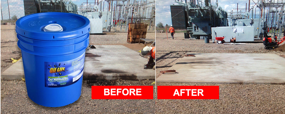 Oil Lift™ removes oil from concrete for industrial strength cleaning results without the toxic side effects.
